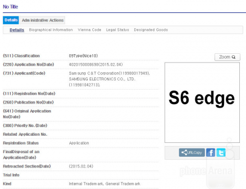 Samsung зарегистрировала товарные марки Galaxy S6 и S6 Edge